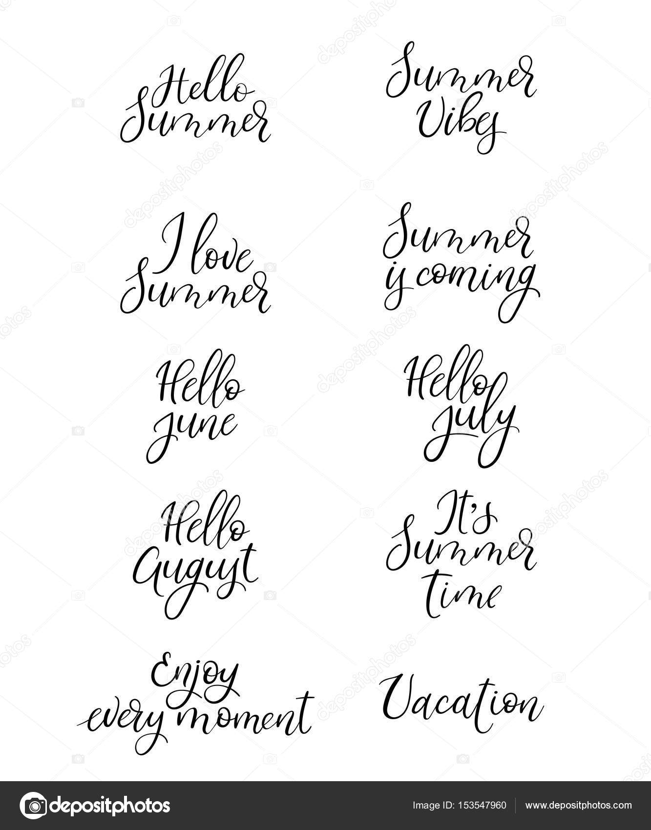 Set Of Summer Calligraphy Vacation Quotes Phrases And Words Handwritten Stock Vector