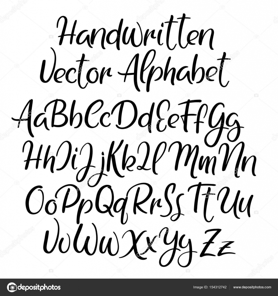 Modern Calligraphy Font Handwritten Brush Letters Uppercase Lowercase Hand Lettering Alphabet For Your Design Wedding Logo Slogan