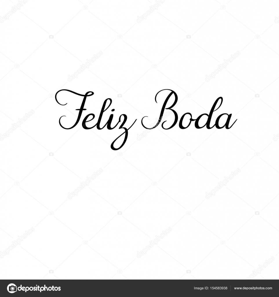 Happy wedding modern calligraphy text in Spanish. Handwritten ...