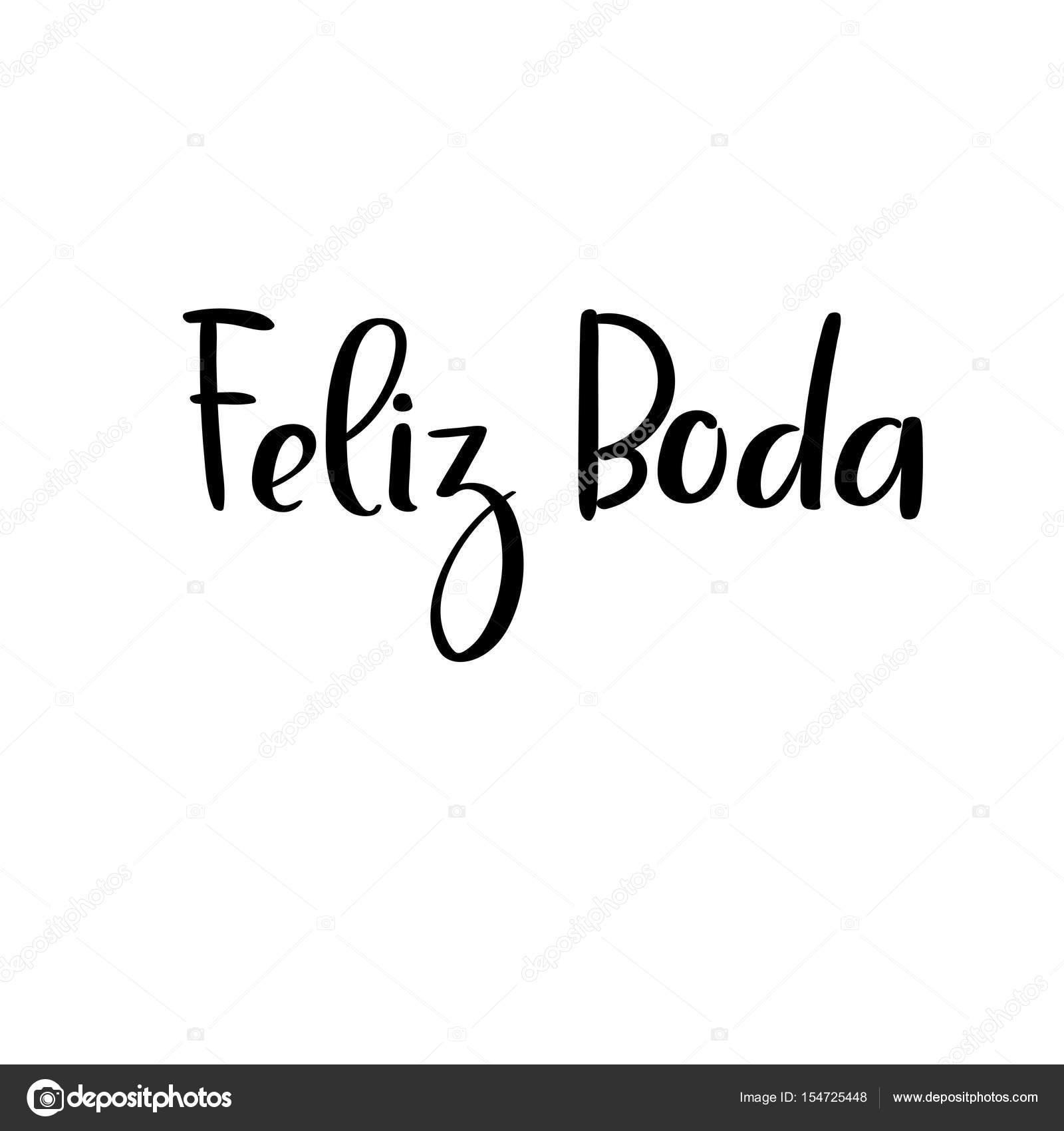 Happy wedding in spanish handwritten text. Calligraphy for wedding ...