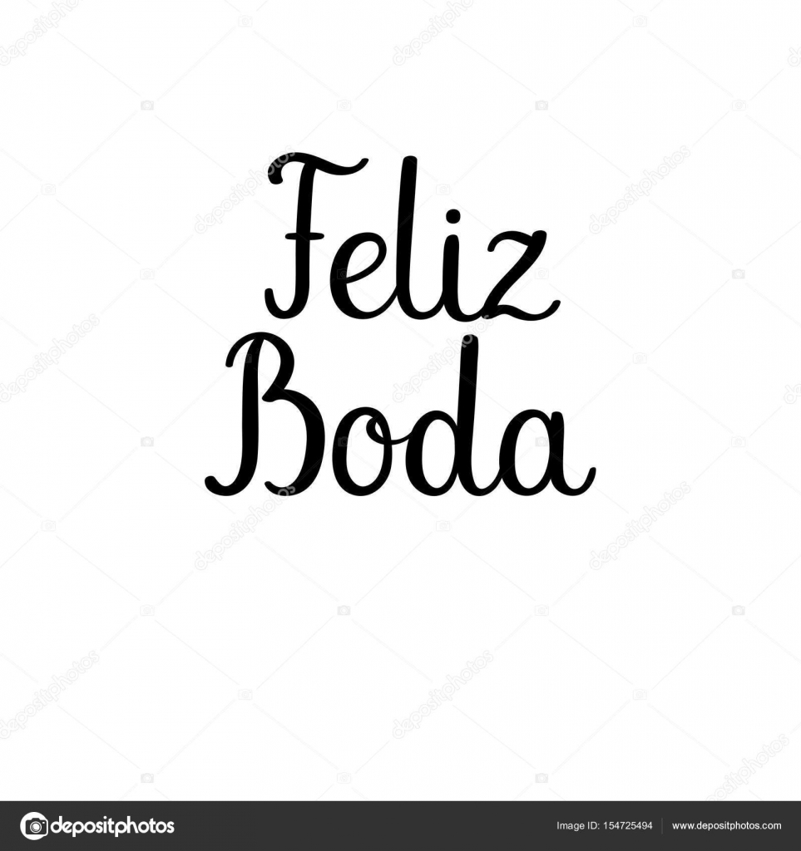 Happy wedding calligraphy text in Spanish. Handwritten inscription ...