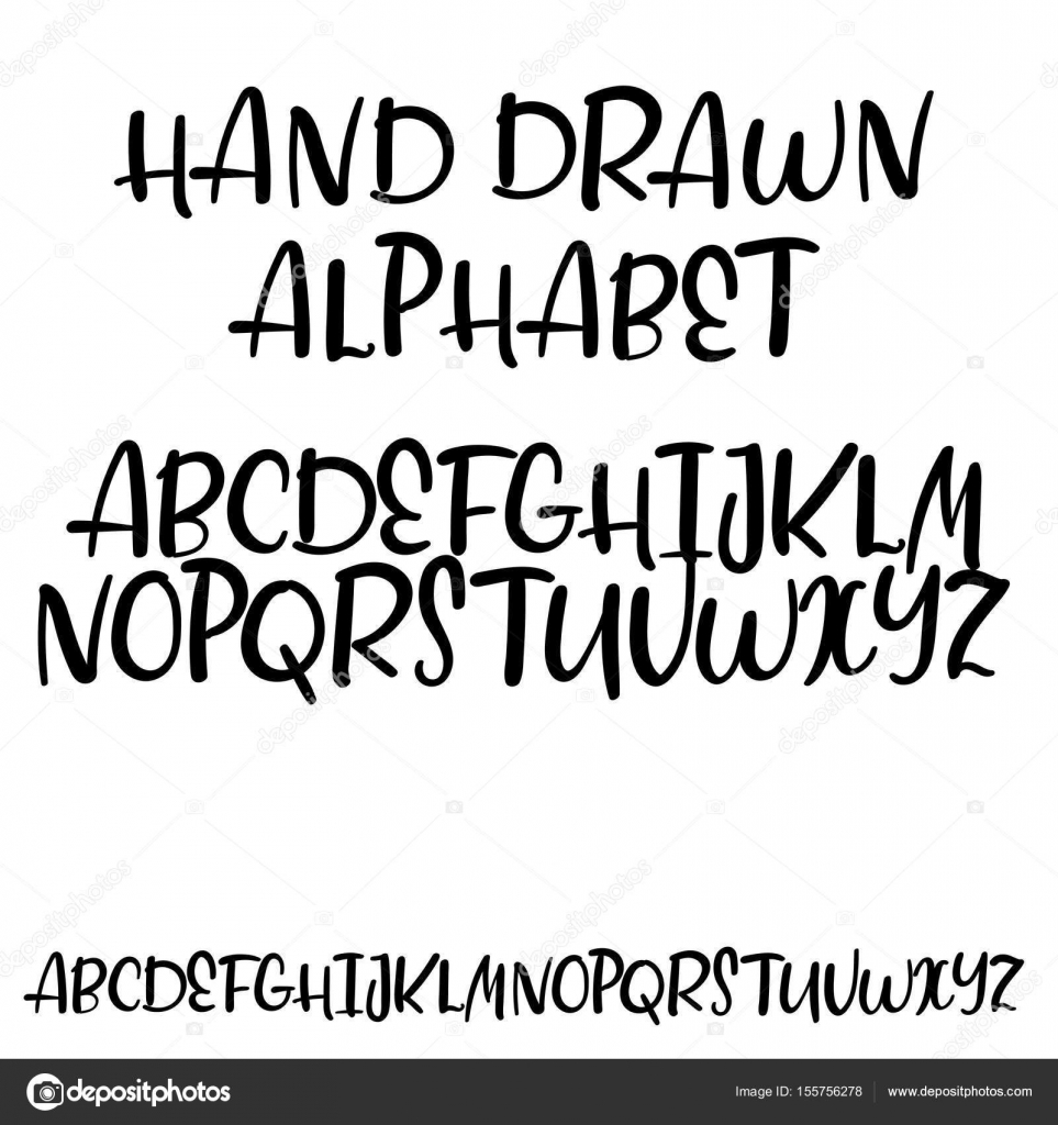 Decorative Handwritten Alphabet Hand Drawn Vector Brush Font Modern Calligraphy ABC Uppercase Wedding Greeting Card Logo Phrases