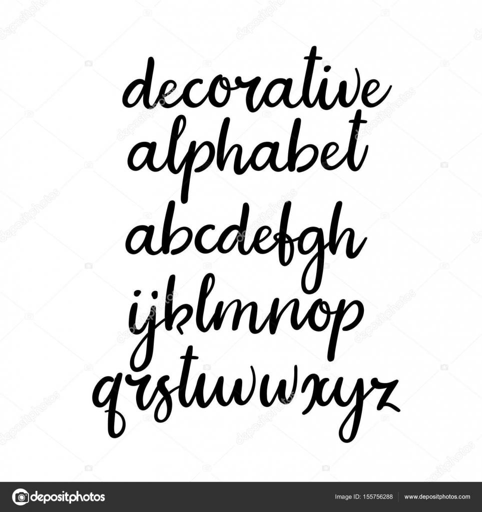 Handwritten Lowercase Letters Vector Alphabet Modern Calligraphy Font Stock