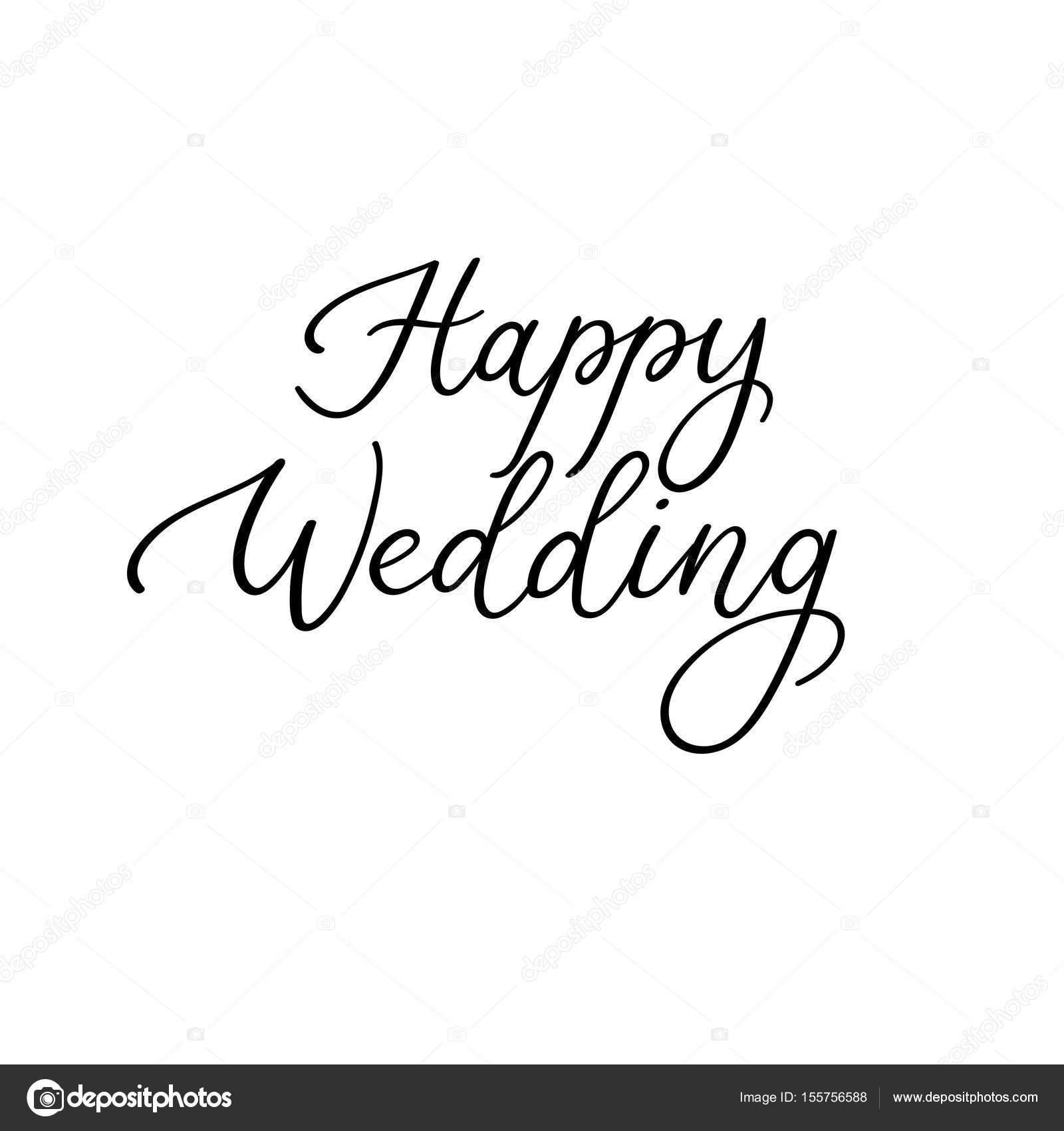 Szczęśliwy ślub Kaligrafii Odręczny Napis Na Kartki Zaproszenia