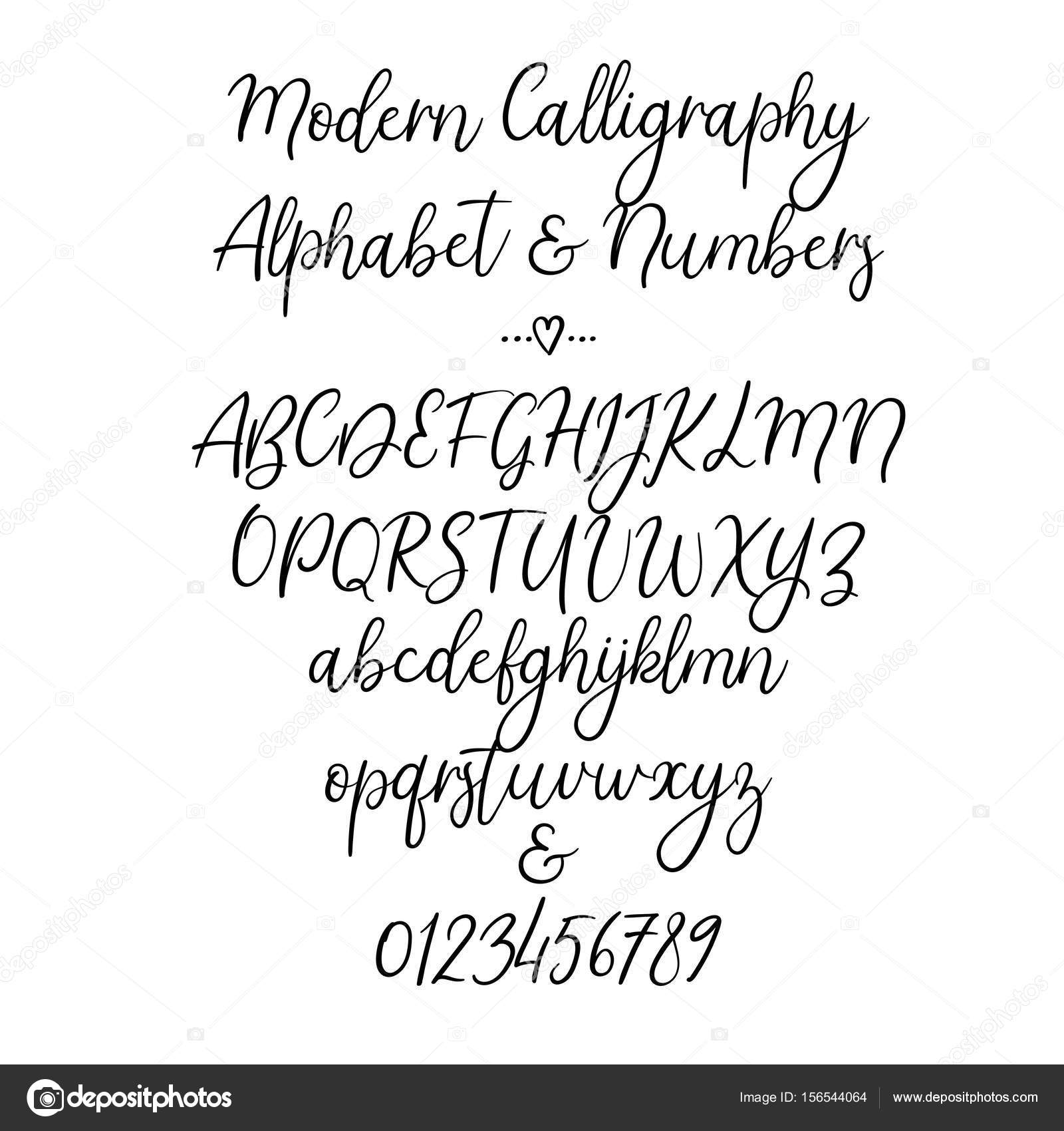 Hand Drawn Alphabet Brush Painted Letters Lowercase And Uppercase Numbers Ampersand Font Isolated On White Typography For Your Design