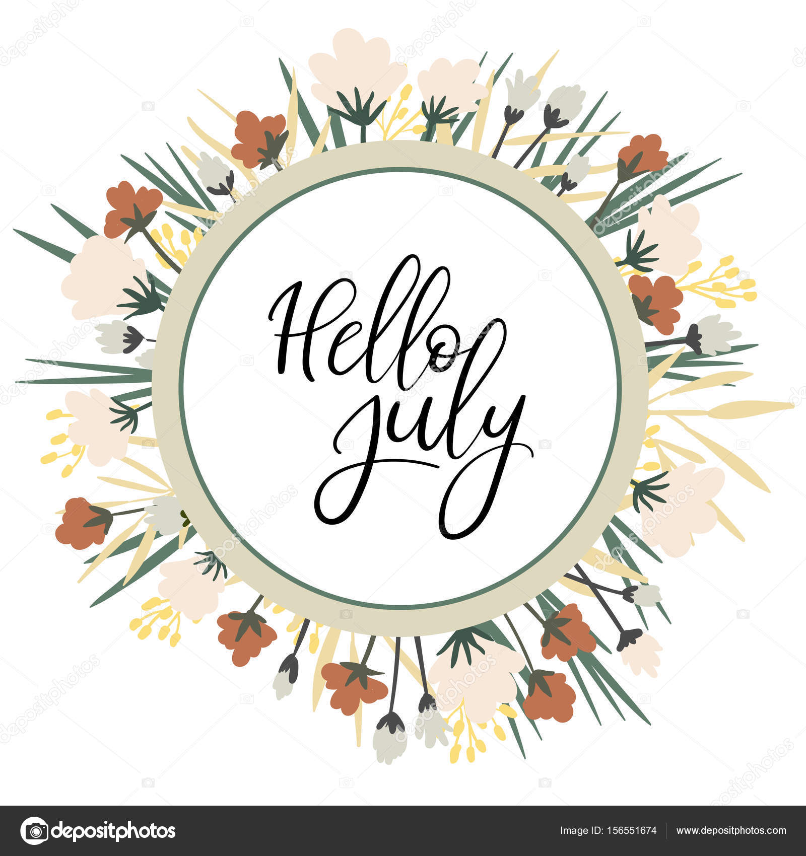 Hello July Calligraphy Inscription. Summer Greeting Card, Postcard, Card,  Invitation, Banner Template With Floral Frame. Brush Calligraphy.