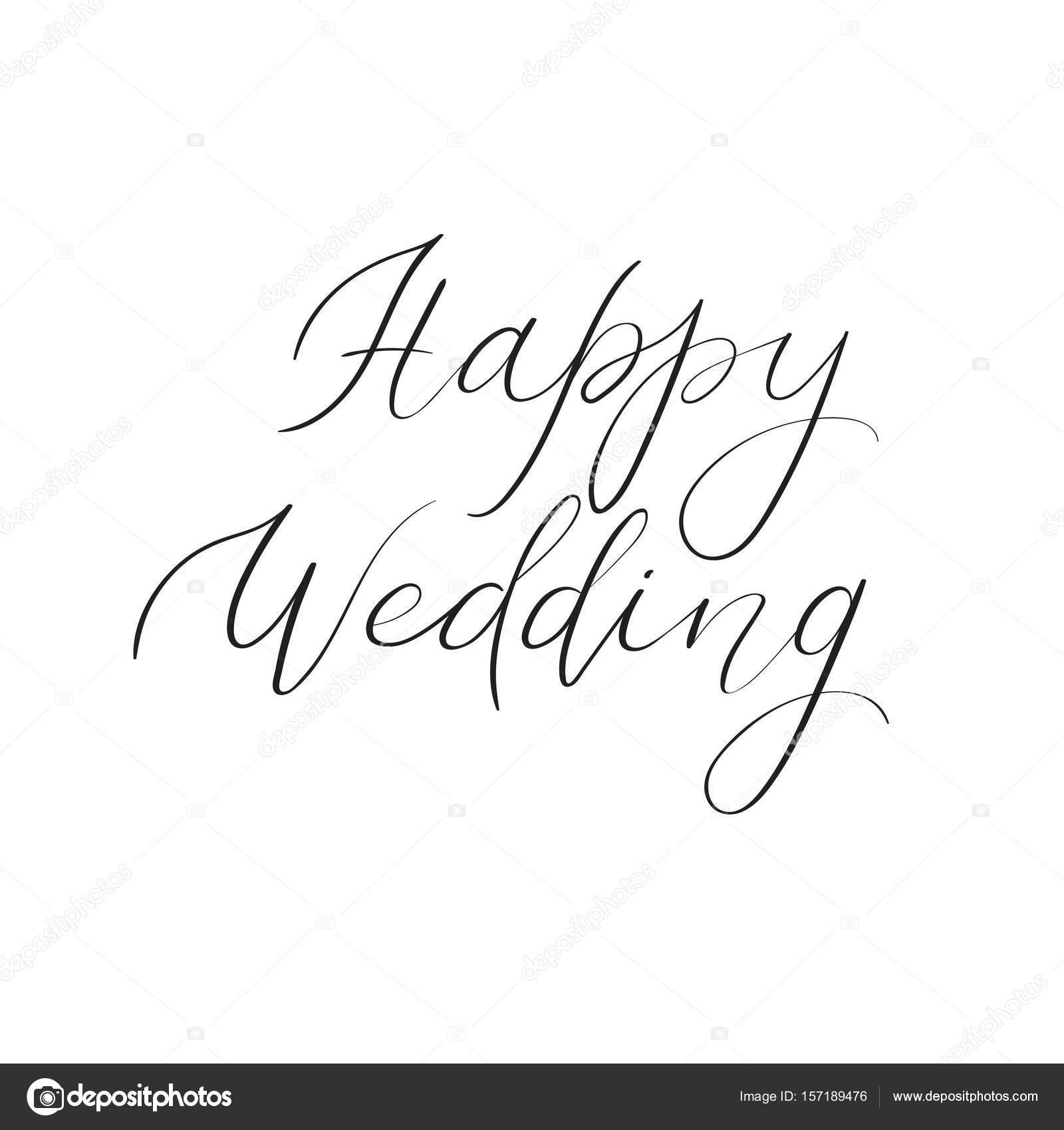 Happy wedding hand lettering text handwritten calligraphy greeting happy wedding hand lettering text handwritten calligraphy greeting card vector stock vector kristyandbryce Images