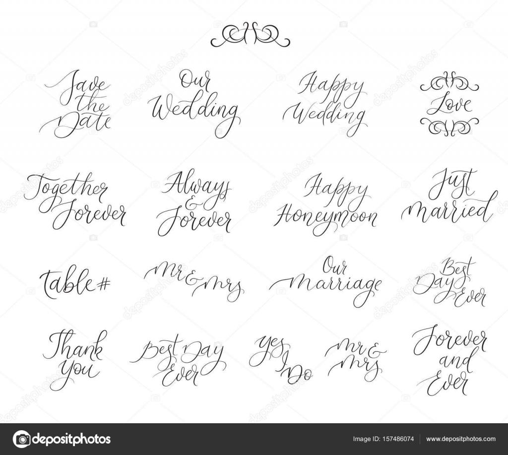 Handwritten set for design wedding invitations, photo overlays ...