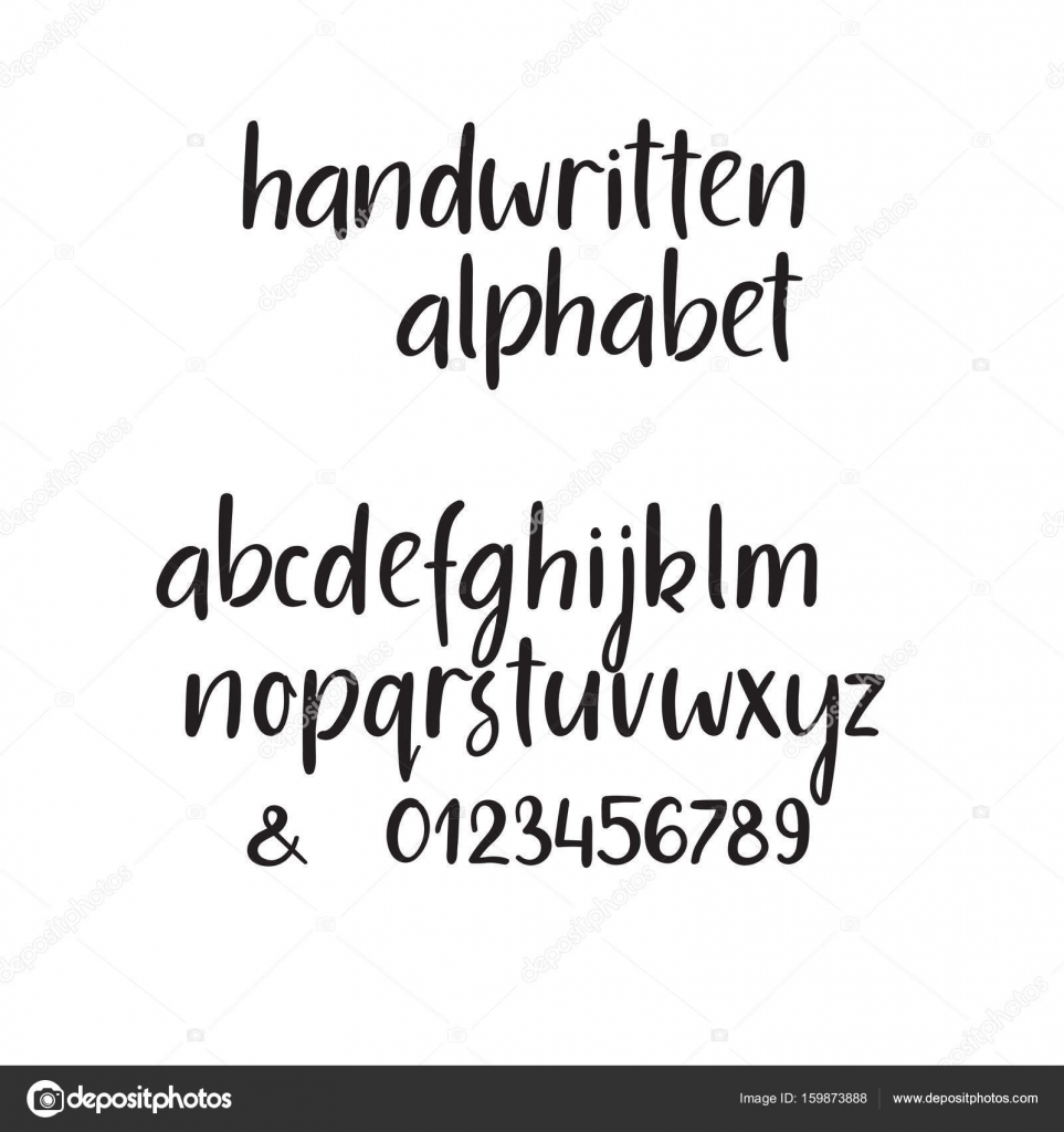 Modern Calligraphy Alphabet Handwritten Brush Letters Uppercase Lowercase Numbers Hand Lettering Font For Your Design Wedding Logo