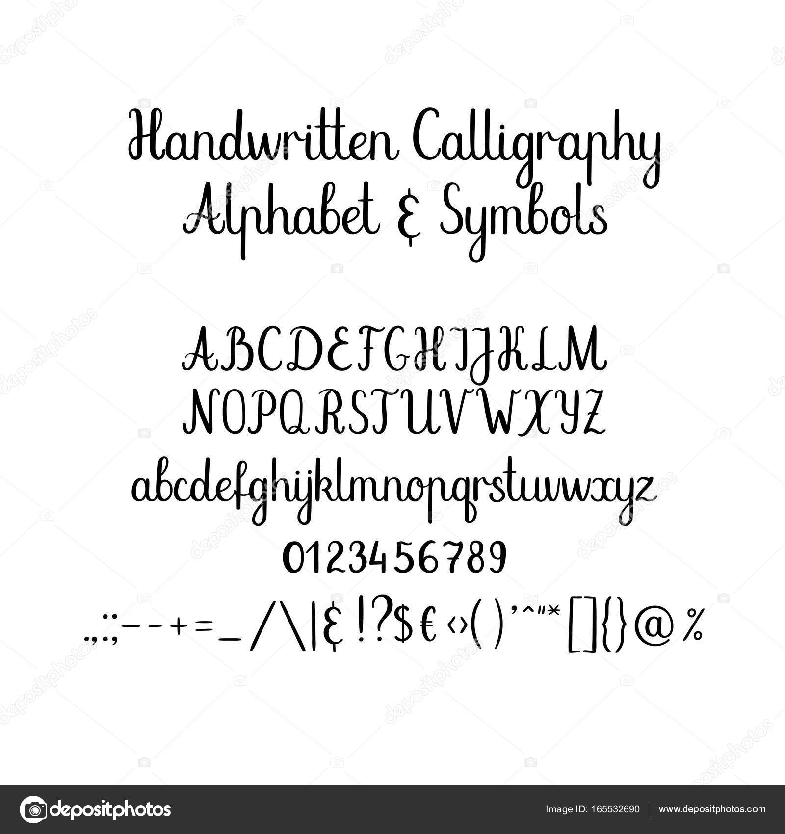 Kaligrafi Alfabe El Yazısı Fırça Yazı Tipi Büyük Harf Küçük Harf