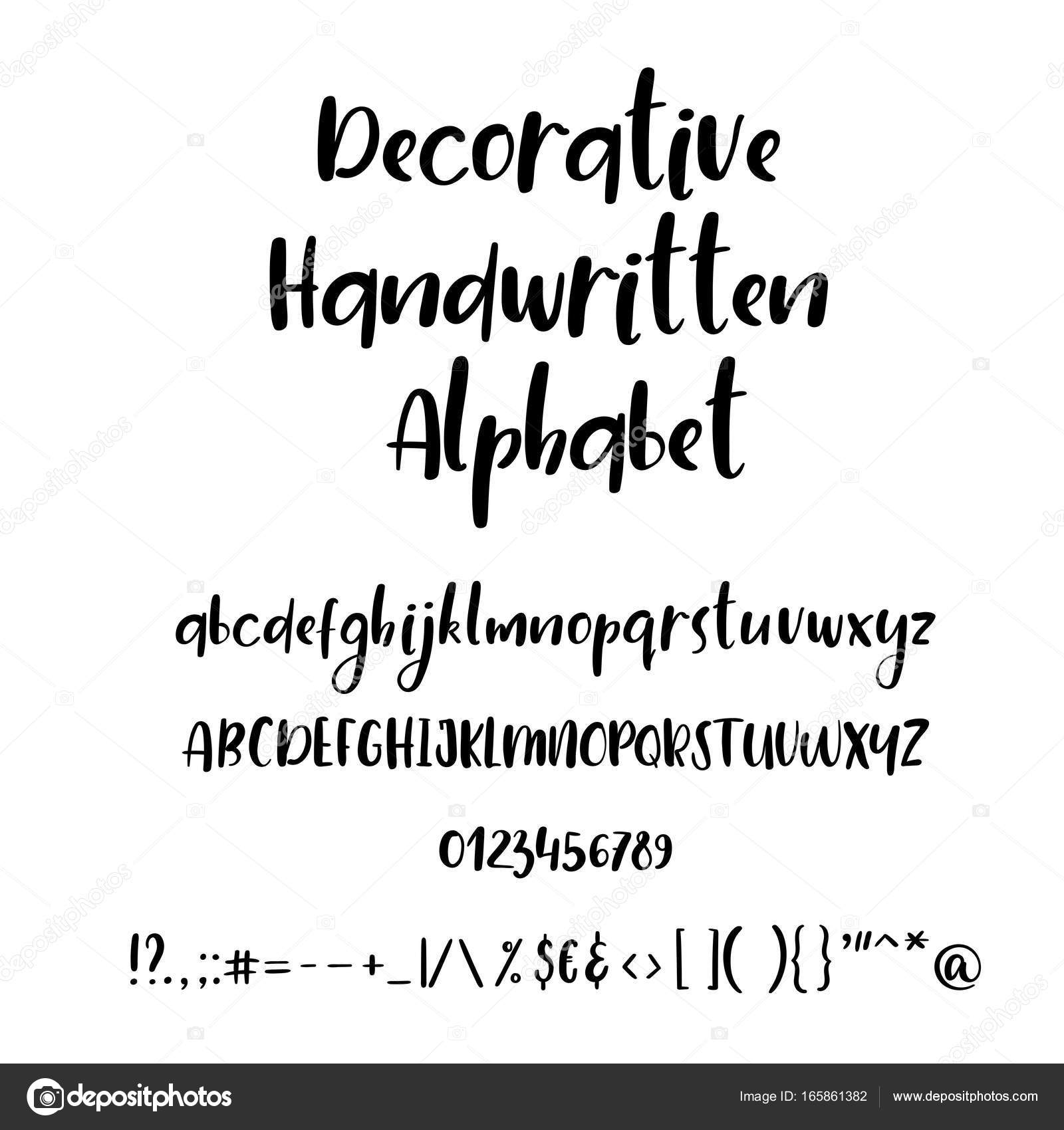 Calligraphic Alphabet Handwritten Brush Font Uppercase Lowercase Numbers Wedding Calligraphy
