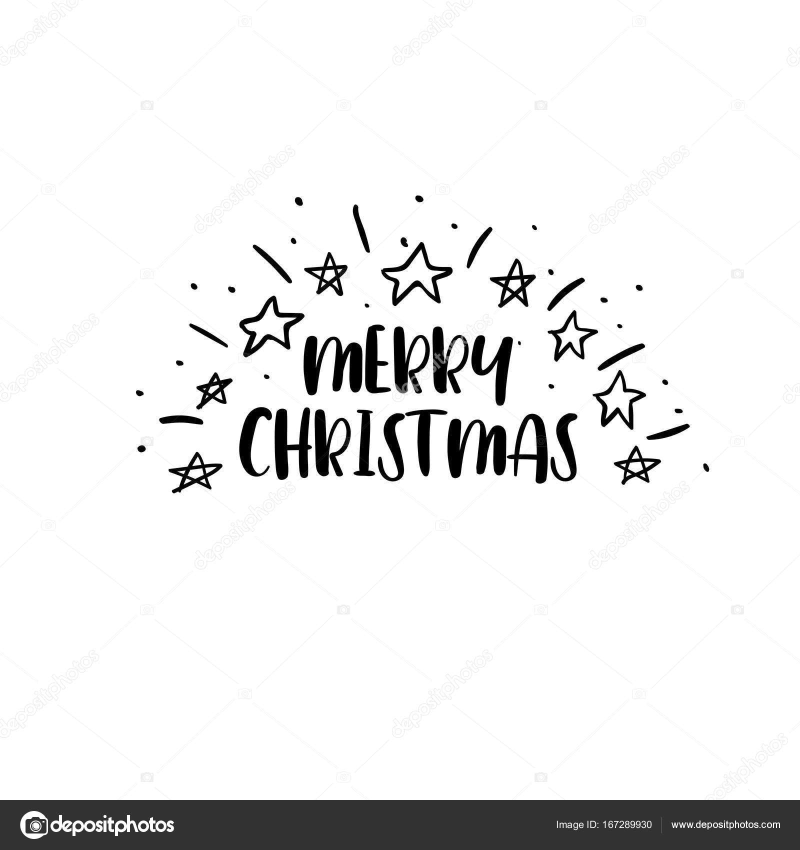 Merry Christmas Calligraphy.Merry Christmas Handwritten Inscription Hand Lettering