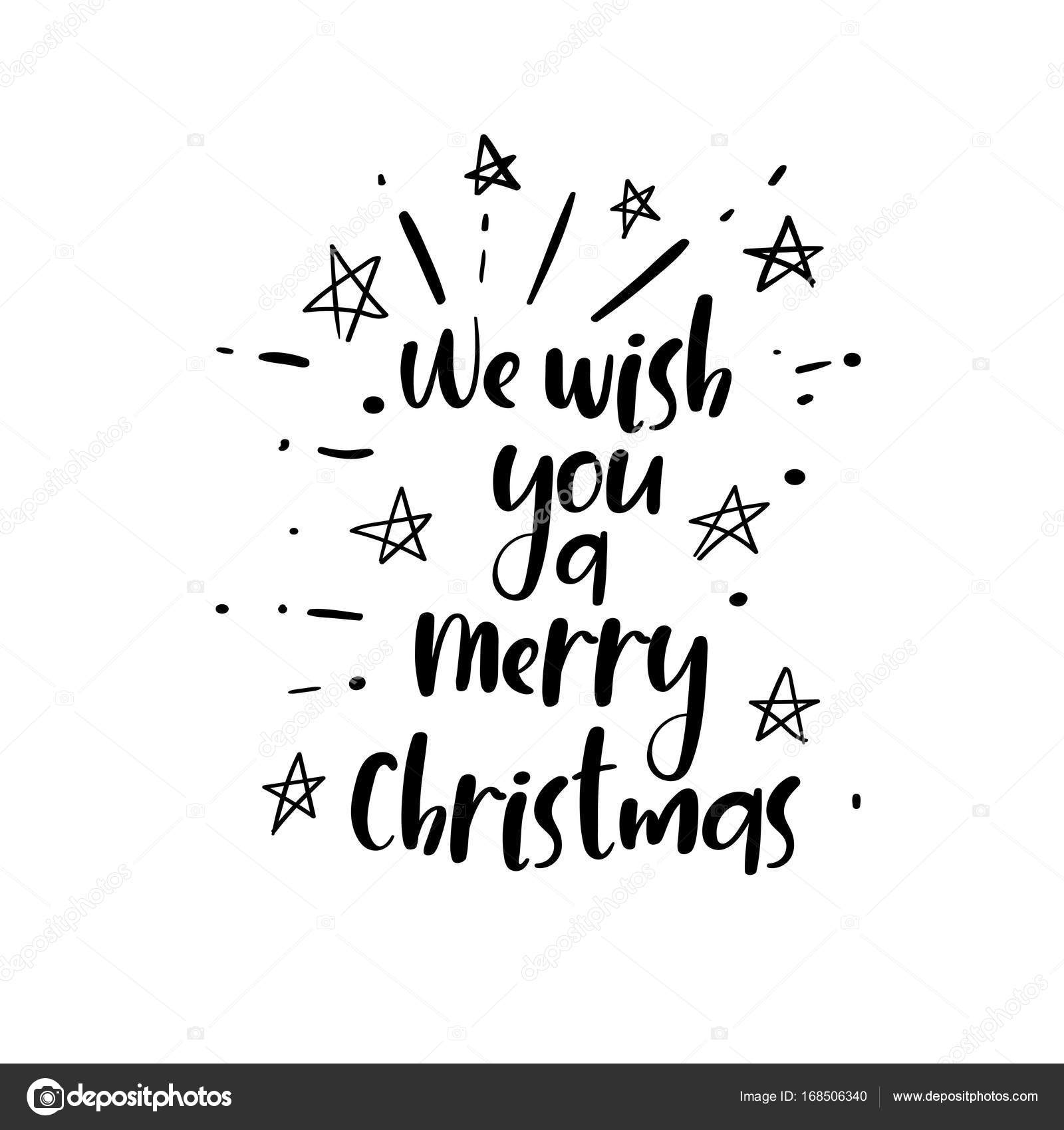 We wish you a Merry Christmas handwritten text for greeting card ...