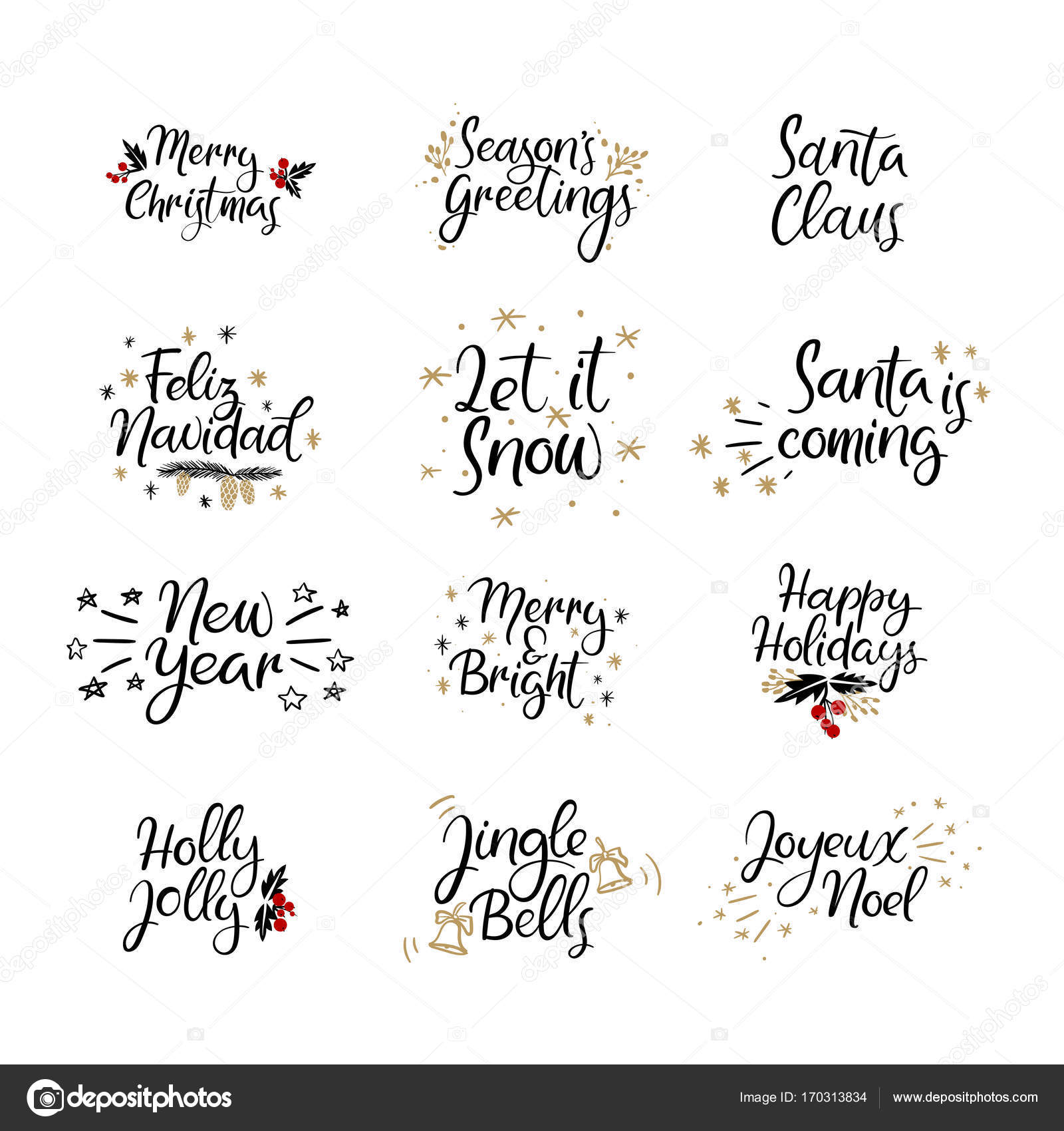 Set of Merry christmas and Happy New Year cards. Modern calligraphy ...