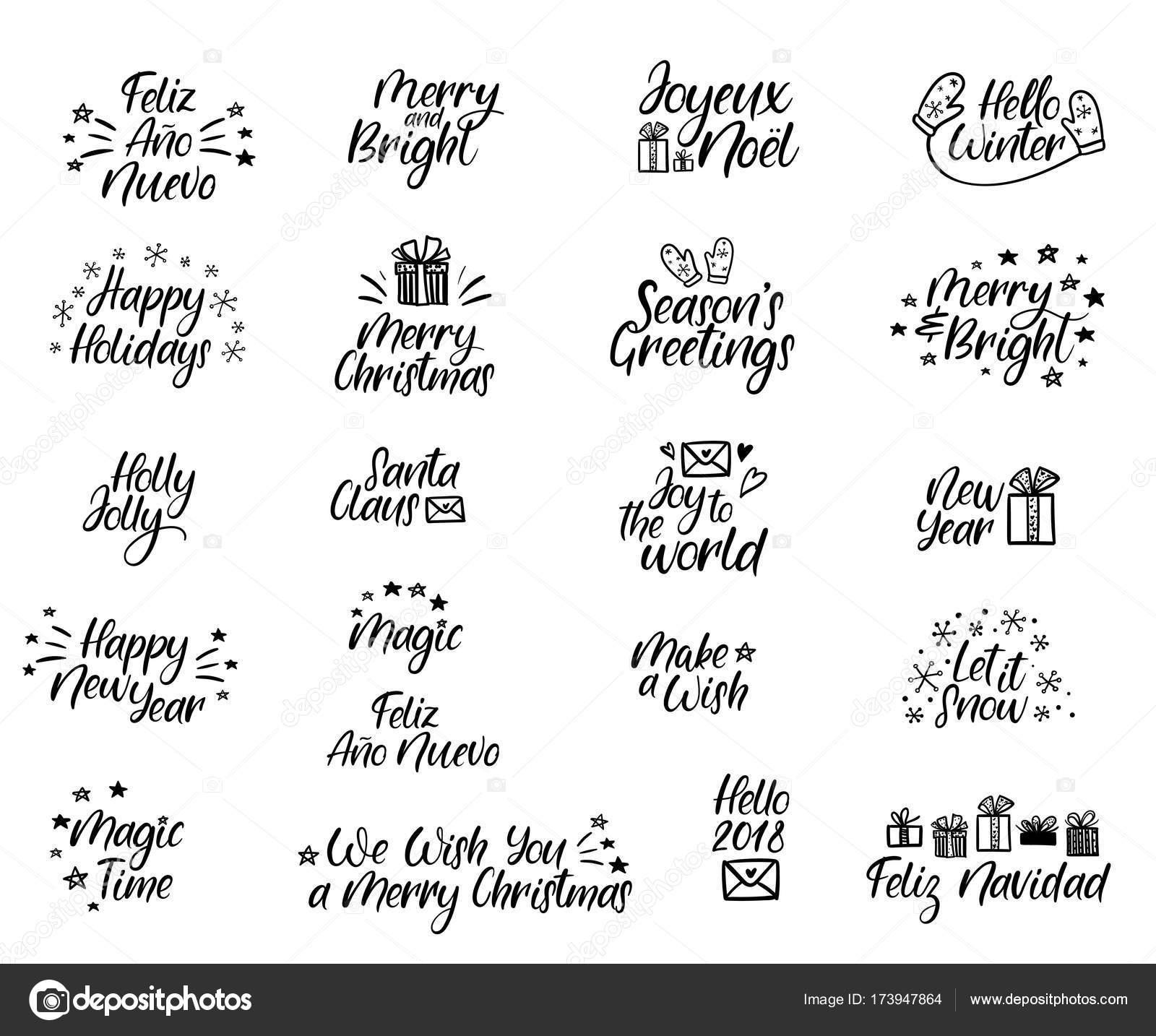 satz von frohe weihnachten und happy new year karten. Black Bedroom Furniture Sets. Home Design Ideas
