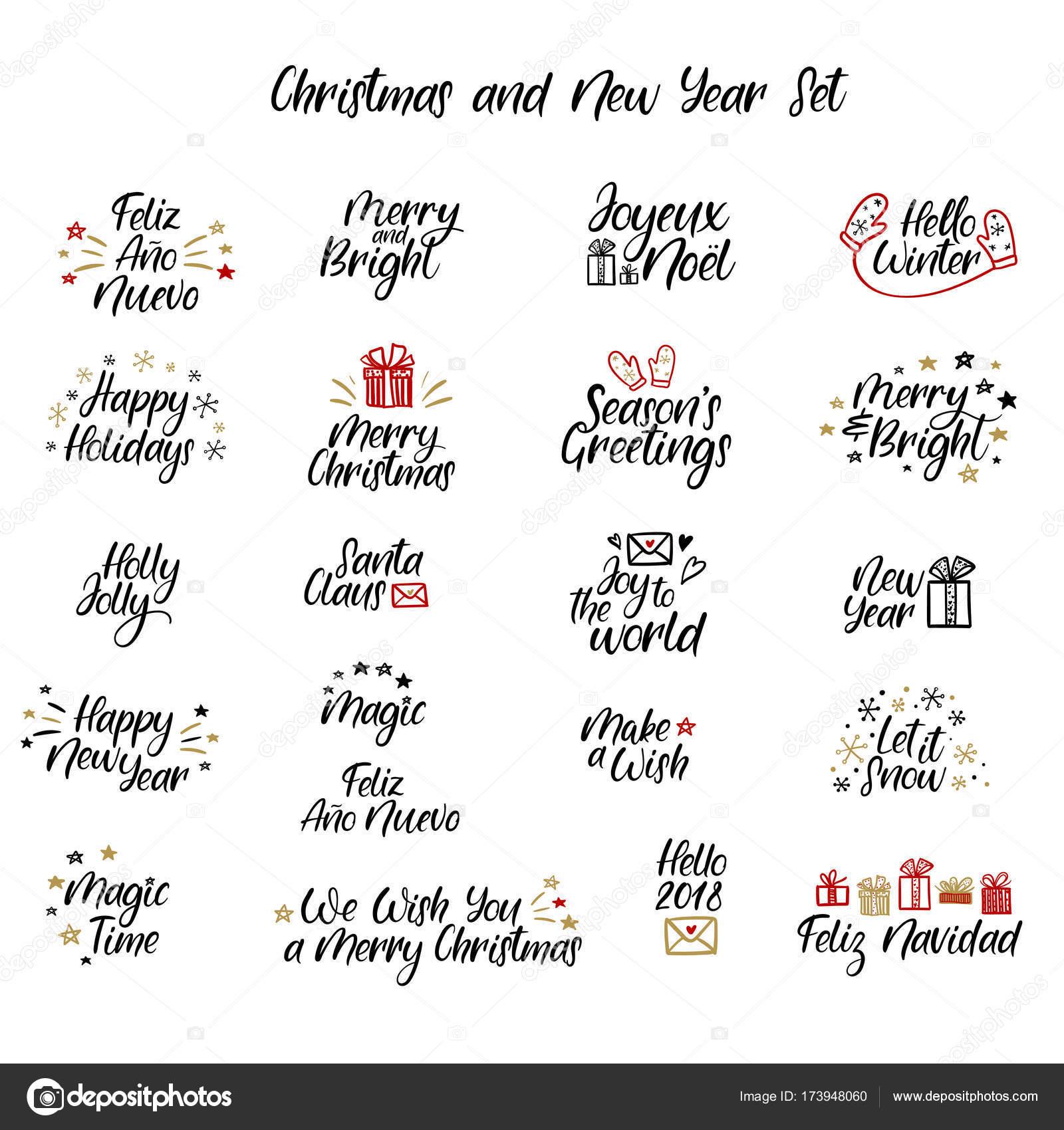 Satz Von Frohe Weihnachten Und Happy New Year Karten Moderne