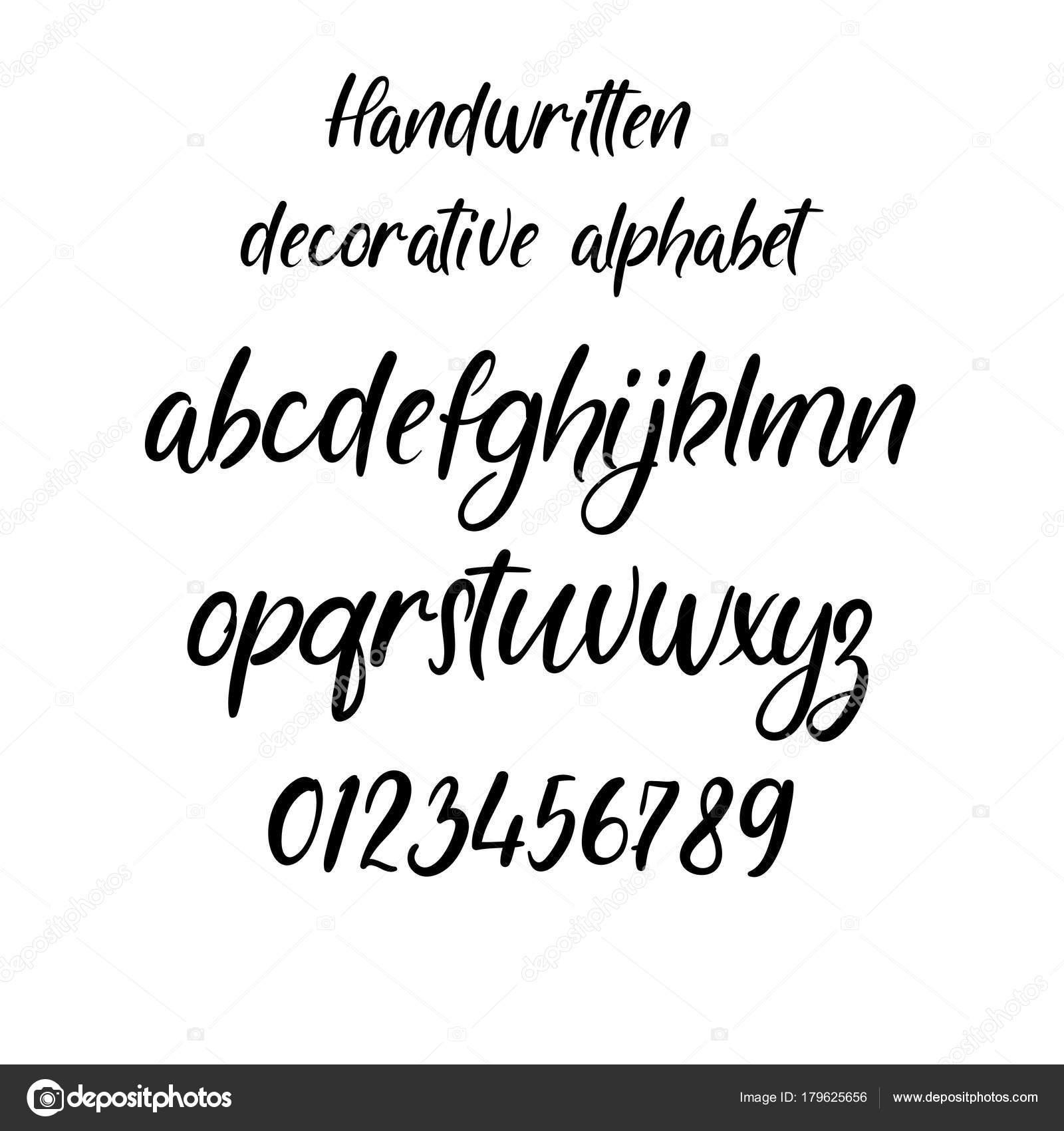 El Yazısı Fırça Harfler Abc Modern Hat El Yazı Vektör Alfabesi