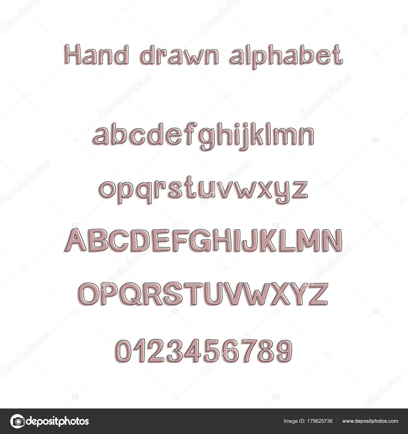 Dekoratif El çekilmiş Alfabe El Yazısı Fırça Yazı Tipi Modern Abc