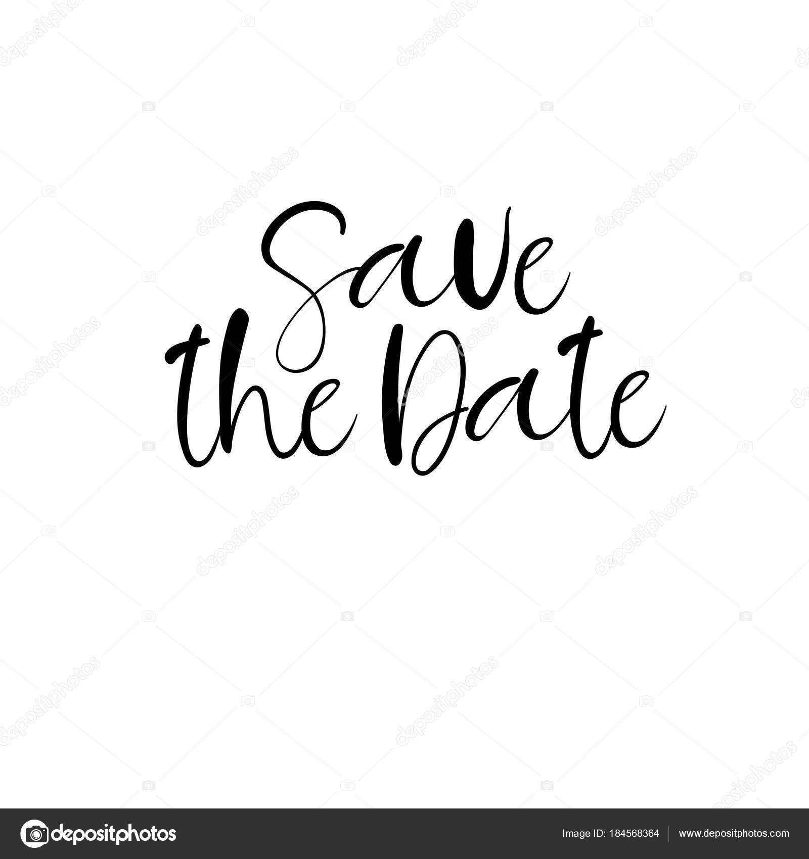 Save the date hand lettering card, wedding invitation. Modern ...