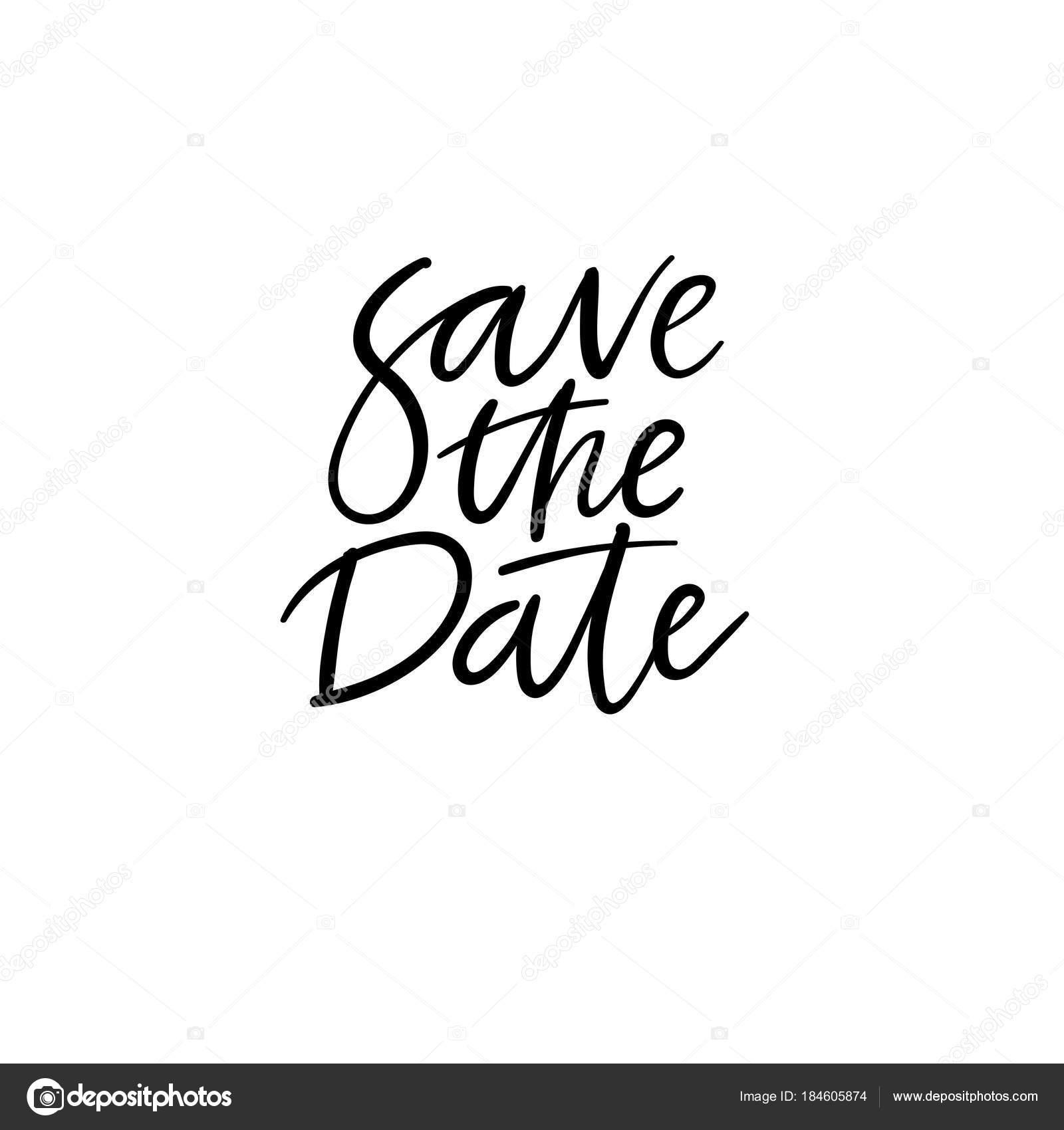 Zapisz Kartę Napis Ręką Data Zaproszenie ślubne Nowoczesnej
