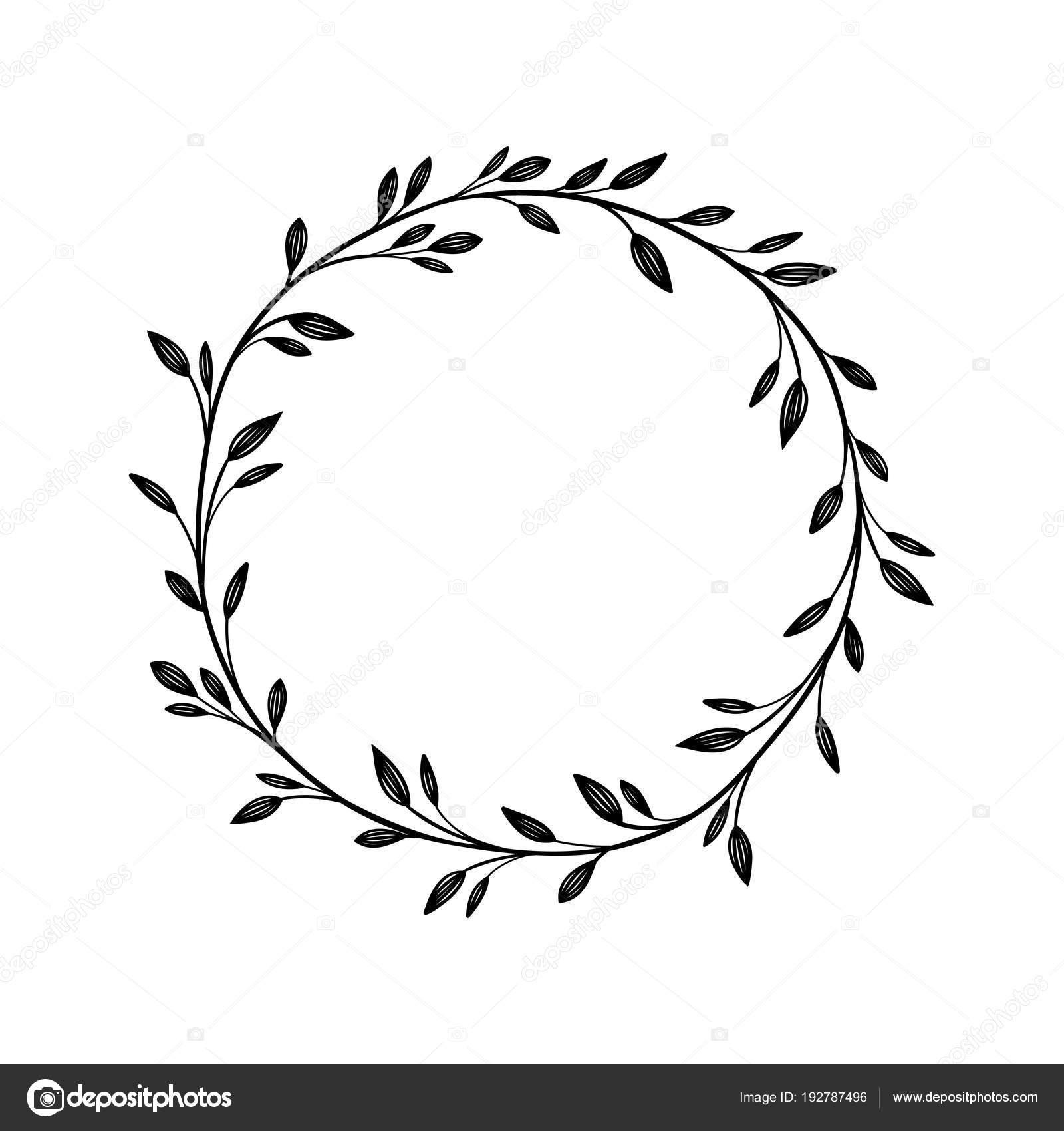 Marco vector dibujado a mano. Guirnalda floral para su texto ...