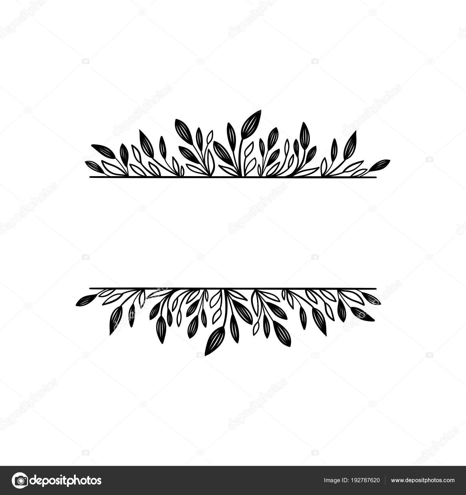 Marco vector dibujado a mano. Frontera floral para su texto ...