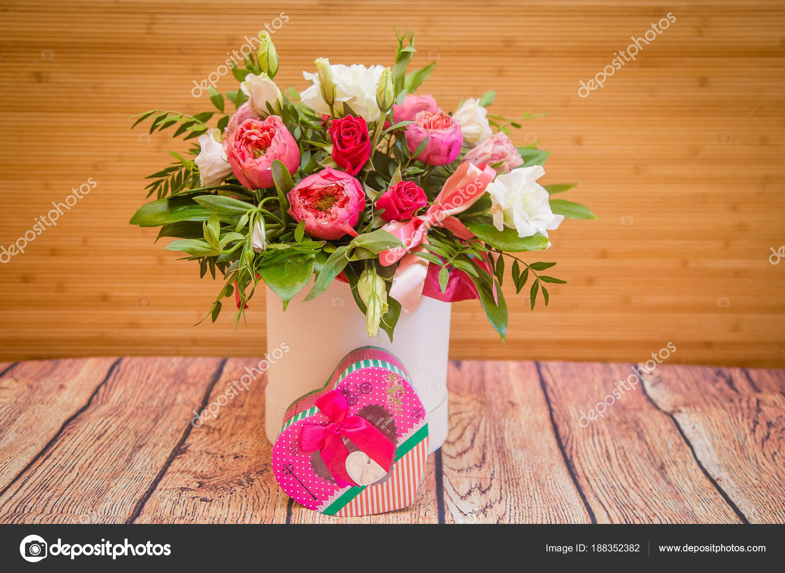 Bouquet Beautiful Flowers Toy Bear Gift — Stock Photo ...