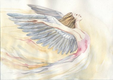 watercolor illustration depicting an angel. Handmade painting