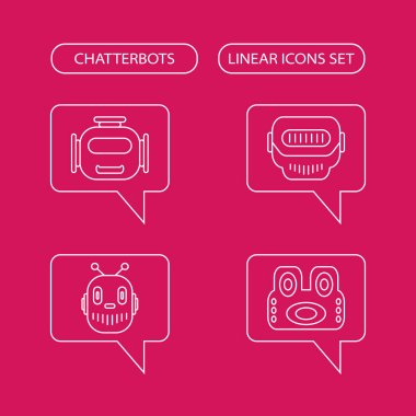 Chatterbots linear icons set