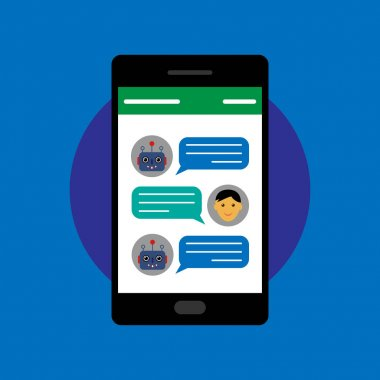 Chatbot and human conversation on smartphone