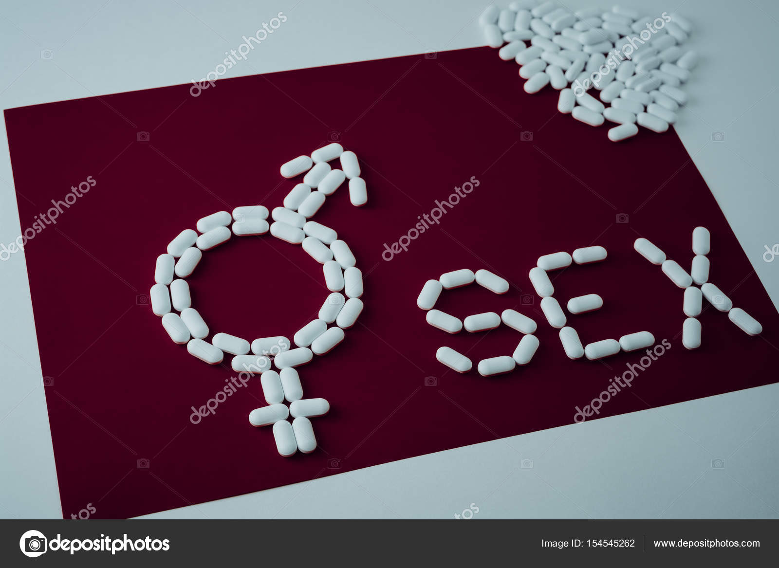 Word Sex Capsules And Tablets Concept Protection Contraception