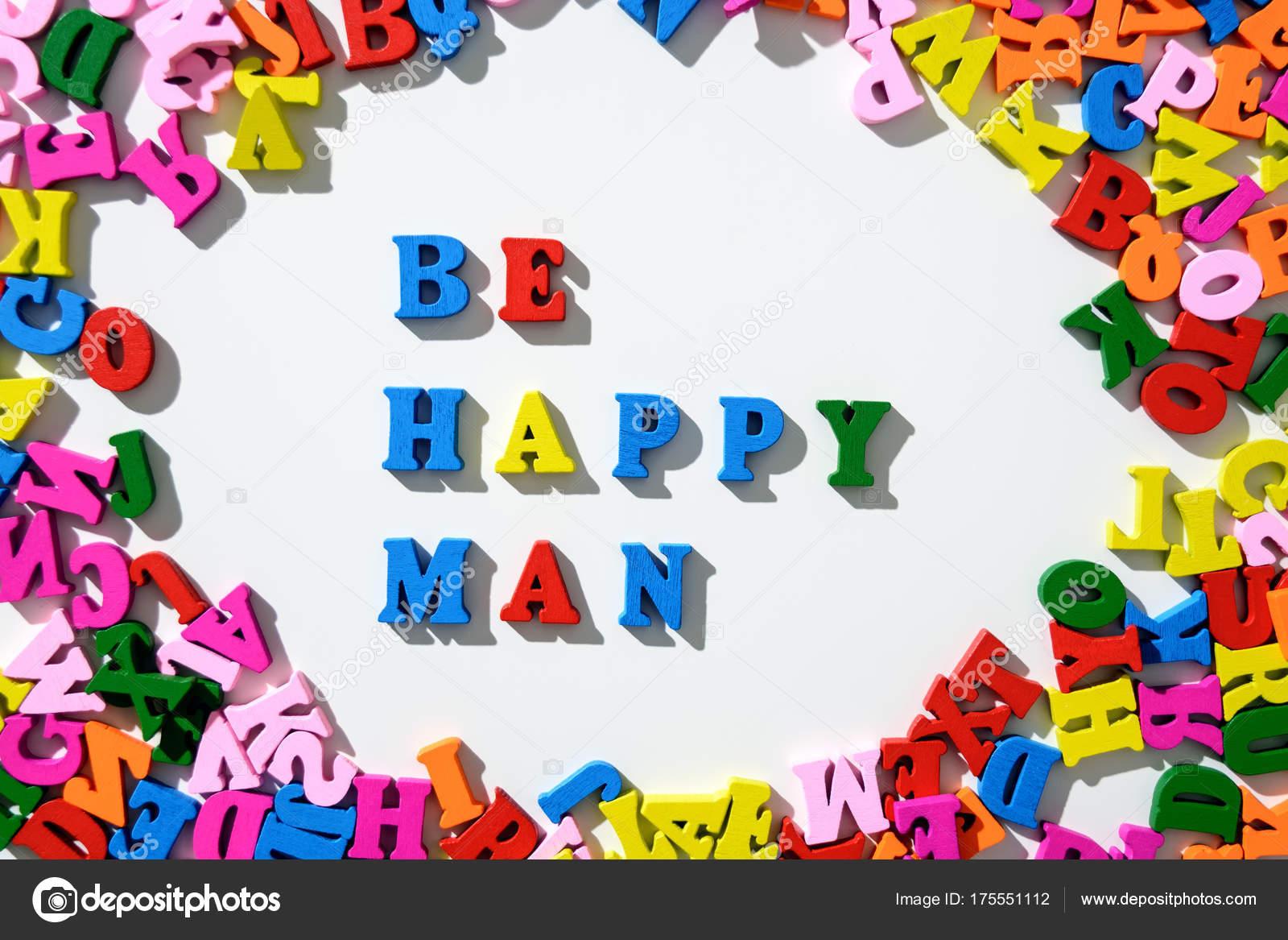 Lettere Di Legno Colorate : Parola uomo felice essere foderato con lettere di legno colorate