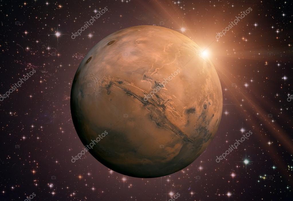 Sistema solar - Marte. Es el cuarto planeta desde el sol — Foto de ...