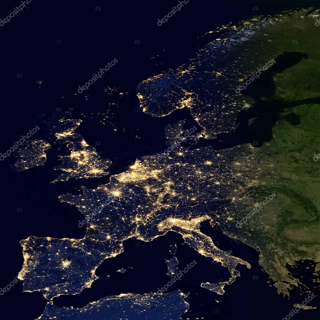 City lights on world map europe stock photo nasaage 129626912 city lights on world map europe elements of this image are furnished by nasa photo by nasaage gumiabroncs Images