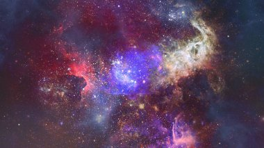 Nebula and stars in deep space, mysterious universe.