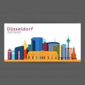 Fotografie Düsseldorf-bunte Architektur-Vektor-illustration