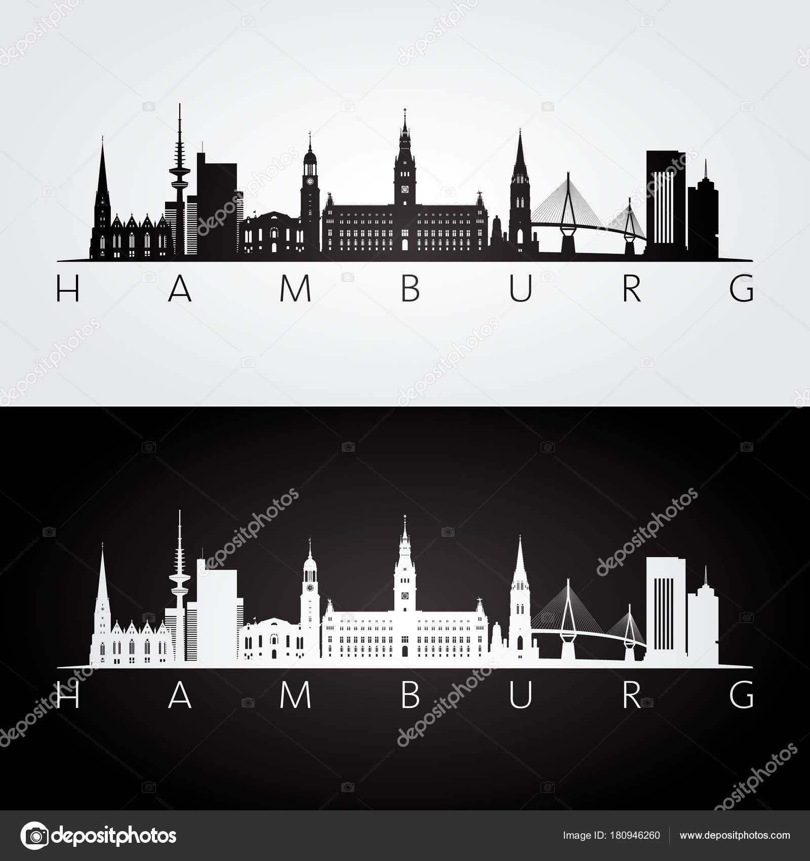 hamburg skyline und wahrzeichen silhouette schwarz wei design vektor illustration stockvektor. Black Bedroom Furniture Sets. Home Design Ideas