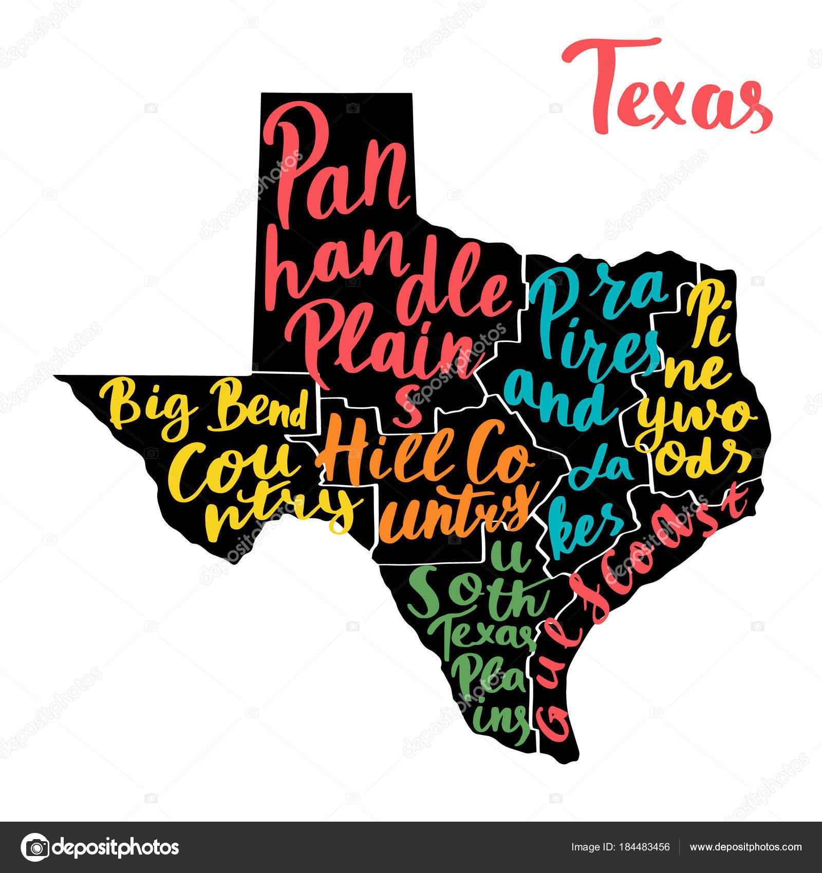 Mapa Del Estado Texas Usa Con Nombres Escritos Mano Coloridos ...