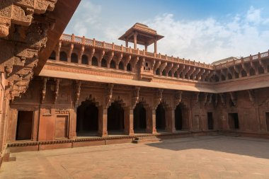Agra Fort inside carvings and architectural details - A UNESCO World Heritage site.