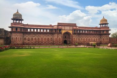 Royal palace inside Agra Fort. Agra Fort built in Mughal Indian architecture style has been designated as a UNESCO World Heritage site.