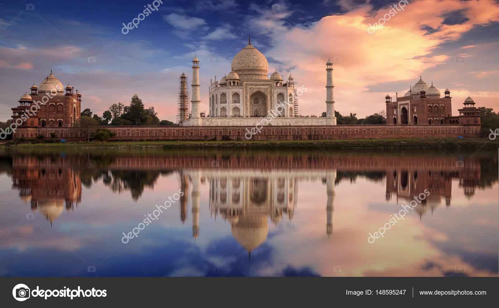 Taj Mahal Pictures Scenic Travel Photos: Taj Mahal Slunce Vyhlídku Od Michaela Bagh Na Břehu řeky