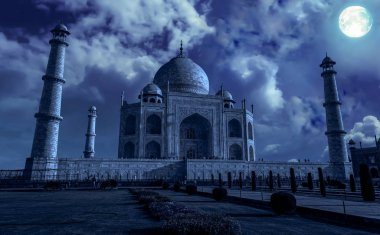 Taj Mahal Agra in moon light effect. Taj Mahal is a white marble mausoleum built by Mughal emperor Shah Jahan on the banks of river Yamuna.