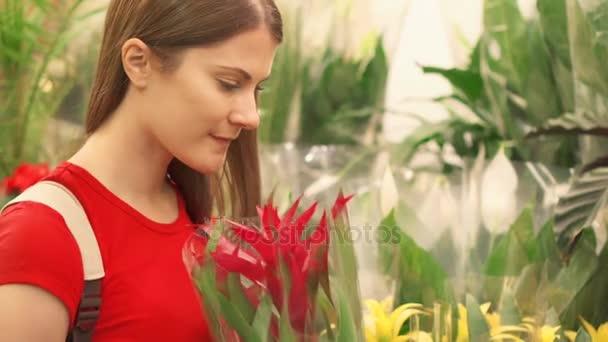 7e16afec75d0 Kobieta ma bliżej przyjrzeć się tablica oddając kwiaty przed podnoszenia  pot i zapach– filmik stockowy