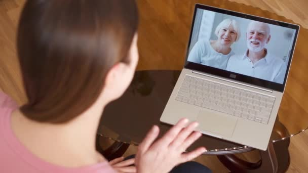 Daughter Studying Abroad Having Video Chat Via Messenger App Call On Laptop With Her Senior Parents Stock Video C Lazyfocus 189257448
