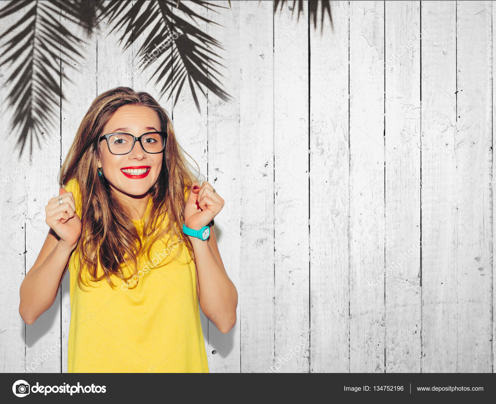 Portrait Beautiful Smiling Young Hipster Latin Stock Photo ...