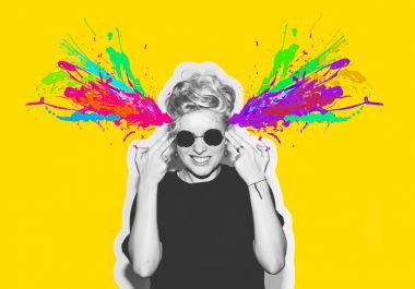 Magazine style collage headshot portrait of rocky emotional woman blow mind with finger gun gesture, brain explosion of colors. Mind brain blowing concept. Fun fashion blonde girl in rock sunglasses.