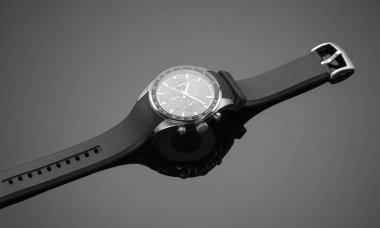 fashionable men's watch on a black background