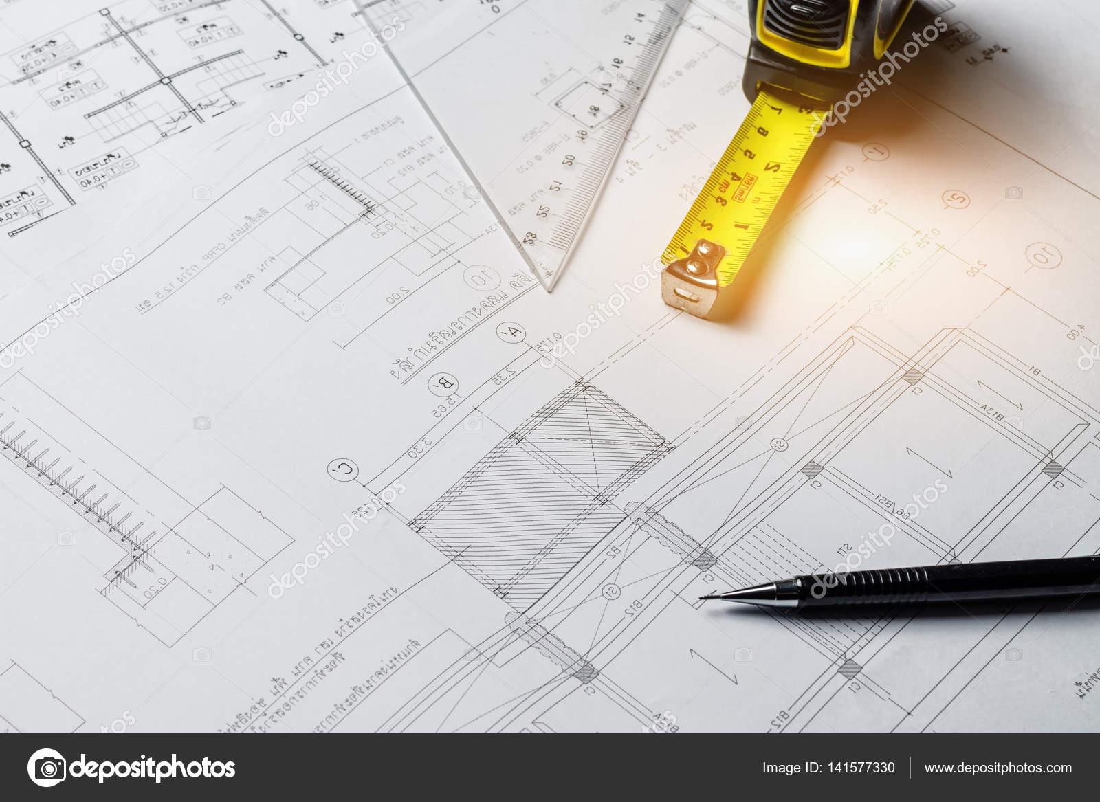 Engineering diagram blueprint paper drafting project sketch arch engineering diagram blueprint paper drafting project sketch arch stock photo malvernweather Choice Image