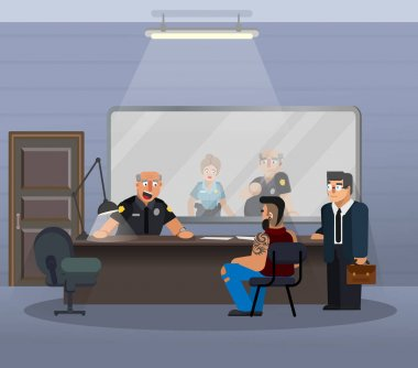 Vector illustration in a flat style, room for questioning a suspect in a police station. The scene of the work of the officers of the department of inquiries, with the participation of a policeman, a suspect, a lawyer.