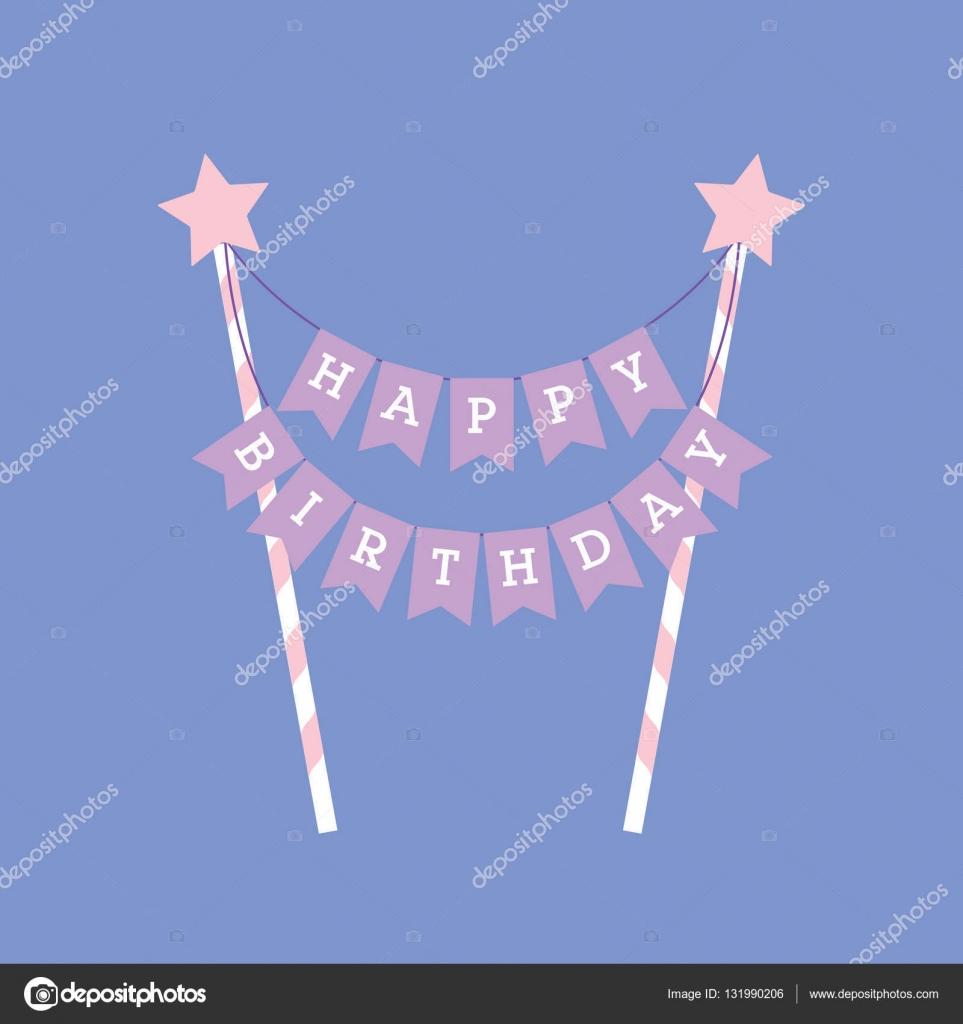 nápis na dort k narozeninám Všechno nejlepší k narozeninám dekorace. Ozdoby na dort — Stock  nápis na dort k narozeninám